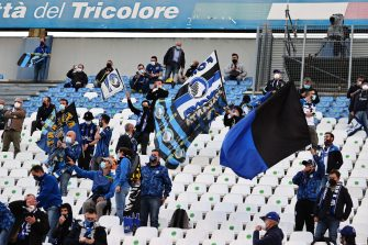 Atalanta's supporters during the Italian TIMVISION CUP FINAL match between Atalanta BC and Juventus at Mapei Stadium - Citta' del Tricolore in Reggio nell'Emilia, Italy, 19 May 2021.ANSA/PAOLO MAGNI