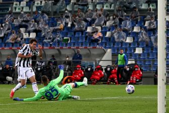 Juventus's Federico Chiesa scores the goal 1-2 during the Coppa Italia Tim Vision Final between Atalanta BC and Juventus at Mapei Stadium Tricolore on May 19, 2021 in Reggio nell'Emilia, Italy.ANSA/PAOLO MAGNI