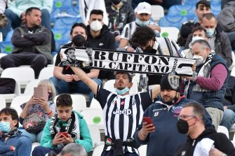 Juventus supporters during the Italian TIMVISION CUP FINAL match between Atalanta BC and Juventus at Mapei Stadium - Citta' del Tricolore in Reggio nell'Emilia, Italy, 19 May 2021. ANSA/PAOLO MAGNI
