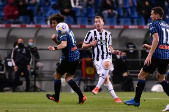 Juventus's Dejan Kulusevski scores the goal 0-1 during the Italian TIMVISION CUP FINAL match between Atalanta BC and Juventus at Mapei Stadium - Citta' del Tricolore in Reggio nell'Emilia, Italy, 19 May 2021. ANSA/PAOLO MAGNI