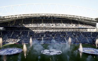 epa09235516 General view of Dragao Stadium during the opening ceremony prior to the UEFA Champions League final between Manchester City and Chelsea FC in Porto, Portugal, 29 May 2021.  EPA/Susan Vera / POOL