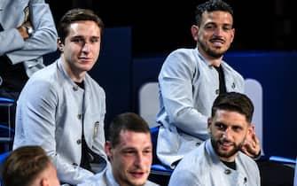 Federico Chiesa, Alessandro Florenzi, Andrea Belotti e Domenico Berardi con la divisa della Nazionale firmata Armani