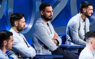 Salvatore Sirigu, Gianluigi Donnarumma e Matteo Politano con la divisa della Nazionale firmata Armani
