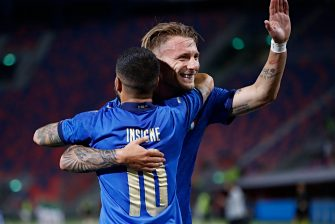 Italy's Lorenzo Insigne jubilates with his teammates after scoring the goal during the international friendly soccer match Italy vs Czech Republic at Renato Dall'Ara stadium in Bologna, Italy, 04 June 2021. ANSA /ELISABETTA BARACCHI