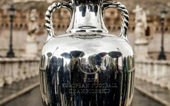 The Henri Delaunay Cup, which will be presented to the captain of the winning football team of the next UEFA EURO 2020, during the trophy tour at Castel Sant'Angelo in Rome 20 April 2021. ANSA/FABIO FRUSTACI