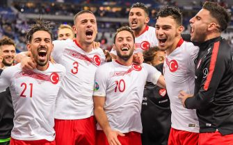 (L-R) Irfan Can Kahveci of Turkey, Merih Demiral of Turkey, Hakan Calhanoglu of Turkey, Umut Meras of Turkey, Kaan Ayhan of Turkey, Deniz Turuc of Turkey during the UEFA EURO 2020 qualifier group C qualifying match between France v Turkye at Stade de France on October 14, 2019 in Paris, France(Photo by ANP Sport via Getty Images)