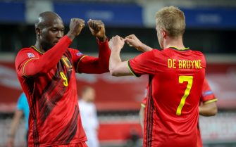 Belgium's Romelu Lukaku and Belgium's Kevin De Bruyne celebrate after scoring during a soccer game between the Belgian national team Red Devils and Denmark, Wednesday 18 November 2020 in Leuven, on the sixth and last day of the group stage (group A2) of the Nations League. BELGA PHOTO VIRGINIE LEFOUR (Photo by VIRGINIE LEFOUR/BELGA MAG/AFP via Getty Images)