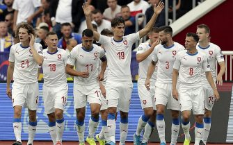 epa07825248 Czech Republic's Patrick Schick (C) celebrates with teammates after scoring during the UEFA EURO 2020 Group A qualifying soccer match between Kosovo and Czech Republic in Pristina, Kosovo, 07 September 2019.  EPA/VALDRIN XHEMAJ