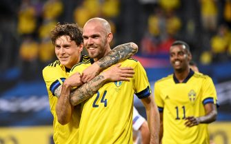 Sweden's defender Marcus Danielson (C) celebrates with his teammate Sweden's defender Victor Lindelof after scoring during the friendly football match Sweden vs Armenia on June 5, 2021, in Solna, in preparation for the UEFA European Championships. (Photo by Jonathan NACKSTRAND / AFP) (Photo by JONATHAN NACKSTRAND/AFP via Getty Images)