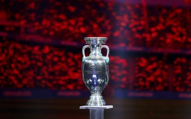 BUCHAREST, ROMANIA - NOVEMBER 30: The Henri Delaunay Trophy is seen on stage after the UEFA Euro 2020 Final Draw Ceremony at the Romexpo on November 30, 2019 in Bucharest, Romania. (Photo by Catherine Ivill/Getty Images)