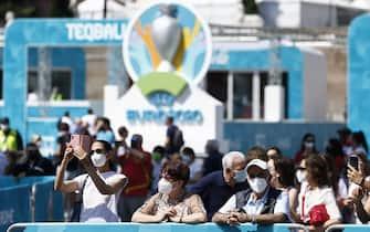 Foto Cecilia Fabiano/ LaPresse  11 Giugno   2021 Roma (Italia) Cronaca :   Apertura della Fan Zone  di piazza del Popolo per UEFA 2020 Nella Foto : La Fan Zone  Photo Cecilia Fabiano/ LaPresse  June 11 , 2021  Roma (Italy)  News  :   Inauguration of the Fan Zone for UEFA 2020 in piazza del Popolo  In the Pic :  Fan Zone