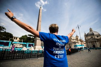Italian supporters attend in the Football Village in Piazza del Popolo prior the inaugural match of the UEFA EURO 2020 soccer tournament Turkey vs Italy at the Olimpico stadium in Rome, Italy, 11 June 2021. ANSA/ANGELO CARCONI