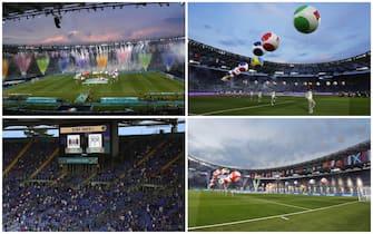 Lo stadio Olimpico e la cerimonia di inaugurazione prima della partita Turchia-Italia