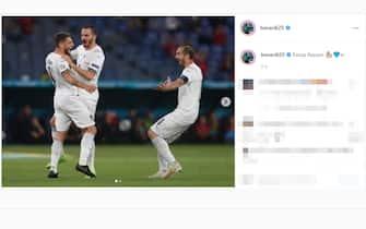 Il post su Instagram di Domenico Berardi dopo la vittoria dell'Italia sulla Turchia a Euro 2020