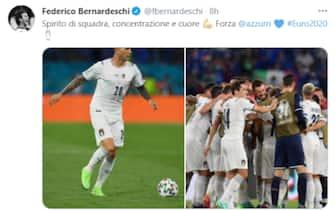 Il tweet di Federico Bernardeschi dopo la vittoria dell'Italia sulla Turchia a Euro 2020