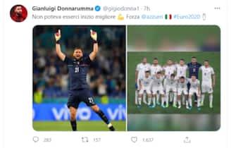 Il tweet di Gigio Donnarumma dopo la vittoria dell'Italia sulla Turchia a Euro 2020