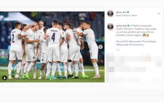 Il post su Instagram di Leonardo Spinazzola dopo la vittoria dell'Italia sulla Turchia a Euro 2020