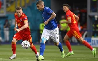 Marco Verratti in azione durante Italia-Galles