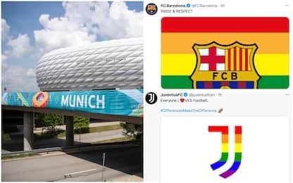 Europei 2021, Juve e Barcellona per le differenze: loghi arcobaleno