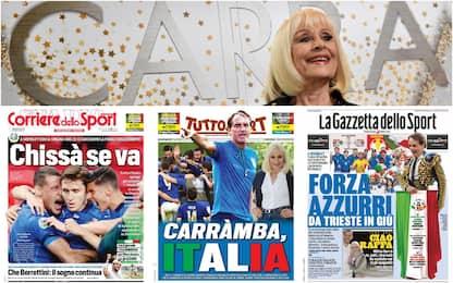 Carrà, sui giornali sportivi il ricordo nel giorno di Italia-Spagna
