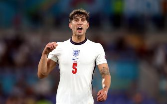epa09321489 John Stones of England reacts during the UEFA EURO 2020 quarter final match between Ukraine and England in Rome, Italy, 03 July 2021.  EPA/Mike Hewitt / POOL (RESTRICTIONS: For editorial news reporting purposes only. Images must appear as still images and must not emulate match action video footage. Photographs published in online publications shall have an interval of at least 20 seconds between the posting.)