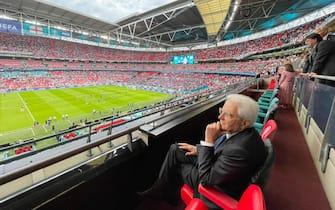 Il presidente della Repubblica Sergio Mattarella in tribuna a Wembley durante la finale di Euro 2020