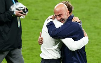 11 July 2021, United Kingdom, London: Football: European Championship, Italy - England, final round, final at Wembley Stadium. Football: European Championship, Italy - England, final round, final at Wembley Stadium. Italy coach Roberto Mancini (l) and Gianluca Vialli, head of the Italian national team delegation, hug after winning the penalty shootout. Photo: Christian Charisius/dpa (Photo by Christian Charisius/picture alliance via Getty Images)