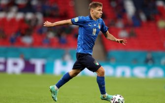 epa09304311 Nicolo Barella of Italy in action during the UEFA EURO 2020 round of 16 soccer match between Italy and Austria in London, Britain, 26 June 2021.  EPA/Catherine Ivill / POOL (RESTRICTIONS: For editorial news reporting purposes only. Images must appear as still images and must not emulate match action video footage. Photographs published in online publications shall have an interval of at least 20 seconds between the posting.)