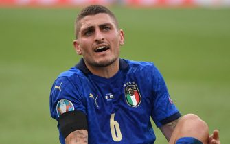 epa09288893 Marco Verratti of Italy reacts during the UEFA EURO 2020 group A preliminary round soccer match between Italy and Wales in Rome, Italy, 20 June 2021.  EPA/Alberto Lingria / POOL (RESTRICTIONS: For editorial news reporting purposes only. Images must appear as still images and must not emulate match action video footage. Photographs published in online publications shall have an interval of at least 20 seconds between the posting.)