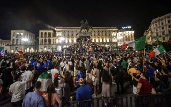 Italy s supporters celebrate the victory of the UEFA EURO 2020 Championship at the end of the final against England (played at the Wembley stadium in London, UK) in Milan, Italy, 11 July 2021. ANSA/MATTEO CORNER