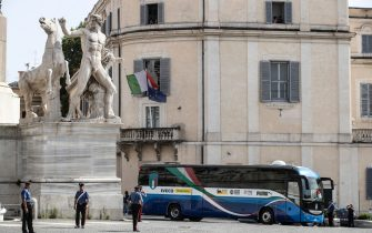 Italian players arrive at the Quirinale Palace to be met by Italian President Sergio Mattarella to celebrate the Italy national football team that returned from London after winning the UEFA EURO 2020 championship, Rome, Italy, 12 July 2021. ANSA/ANGELO CARCONI
