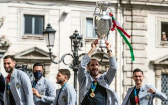 Captain of Italy Giorgio Chiellini carries the European Championship trophy to arrive at the Quirinale Palace to be met by Italian President Sergio Mattarella to celebrate the Italy national football team that returned from London after winning the UEFA EURO 2020 championship, Rome, Italy, 12 July 2021. ANSA/ANGELO CARCONI