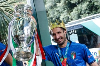Captain of Italy Giorgio Chiellini carries the trophy after the UEFA EURO 2020 as he arrive in Rome, 12 July 2021. Italy won the game in penalty shoot-out. ANSA/FABIO FRUSTACI