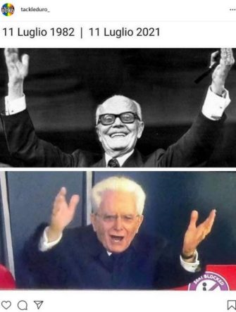 meme su italia inghilterra, l'esultanza di mattarella