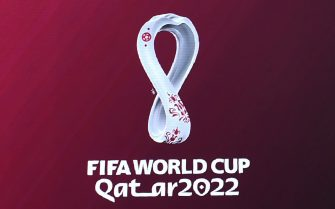 The official logo of the FIFA World Cup Qatar 2022 is unveiled on a giant screen in Madrid on September 3, 2019. (Photo by GABRIEL BOUYS / AFP)        (Photo credit should read GABRIEL BOUYS/AFP via Getty Images)