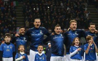 during the UEFA Nations League A group three match between Italy and Portugal at Stadio Giuseppe Meazza on November 17, 2018 in Milan, Italy.