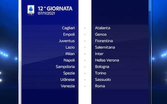 Serie A Calendario stagione 2021/2022 dodicesima giornata
