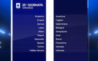 Serie A Calendario stagione 2021/2022 venticinquesima giornata