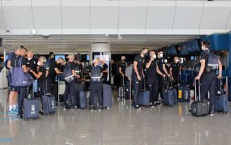 Atleti azzurri in partenza per Tokyo in vista delle Olimpiadi 2020, Fiumicino, 16 luglio 2021. ANSA/TELENEWS