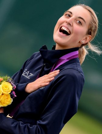 Jessica Rossi of Italy celebrates winning the gold medal in the Women's Trap Rifle final at the London 2012 Olympic Games Shooting competition at the Royal Artillery Barracks, south east London, Britain, 04 August 2012.  ANSA/CLAUDIO ONORATI