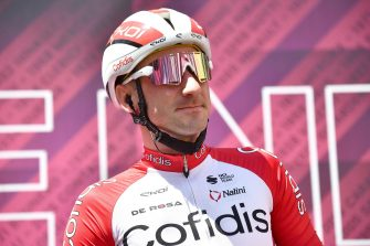 Italian rider Elia Viviani of Cofidis team wearing face mask ahead of the departure of the 13th stage of the 2021 Giro d'Italia cycling race over 198km from Ravenna to Verona, Italy, 21 May 2021.ANSA/LUCA ZENNARO