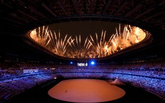 epa09359454 A general view of a performance during the Opening Ceremony of the Tokyo 2020 Olympic Games at the Olympic Stadium in Tokyo, Japan, 23 July 2021.  EPA/KIYOSHI OTA