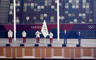 epa09359918 Athletes, judges, and coaches take the Olympic Oath on the Protocol Stage during the Opening Ceremony of the Tokyo 2020 Olympic Games at the Olympic Stadium in Tokyo, Japan, 23 July 2021.  EPA/RUNGROJ YONGRIT