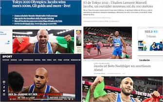 Marcell Jacobs oro nei 100 metri: le prime pagine dei siti esteri