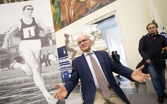 Livio Berruti, in occasione del suo 80esimo compleanno, festeggiato dalla Polizia e da tutto il gruppo sportivo Fiamme Oro, al Salone d'onore del Coni, Roma, 28 maggio 2019. ANSA/MASSIMO PERCOSSI