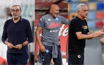 Sarri, Spalletti e Mourinho danno indicazioni in panchina