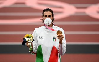Tokyo , Japan - 2 August 2021; Joint gold medalist Gianmarco Tamberi of Italy during the Men's High Jump Victory Ceremony at the Olympic Stadium on day ten of the 2020 Tokyo Summer Olympic Games in Tokyo, Japan. (Photo By Ramsey Cardy/Sportsfile via Getty Images)