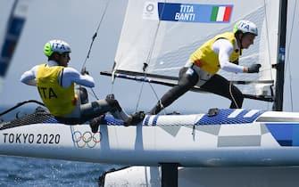 Ruggero Tita e Caterina Banti durante una regata alle Olimpiadi di Tokyo