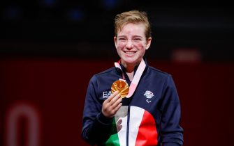 Awarding of the gold medal to Bebe Vio, Paralympic champion in Tokyo 2020, in Tokyo, Japan, on August 28, 2021. Beatrice ''Bebe'' Vio (ITA) wins against Jingjing Zhou of China with the score of 15-9in in  thethe Gold Medal Bout of the Tokyo 2020 Paralympic tournament held in the Makuhari Messe B in Tokyo. (Photo by Mauro Ujetto/NurPhoto)