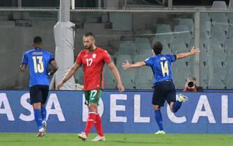 Federico Chiesa esulta dopo il gol alla Bulgaria nella partita poi finita 1-1